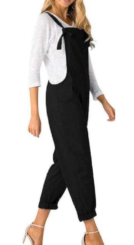 Joe Wenko Womens Pocket Sleeveless Adjustable Summer Harem Ankle Pencil Overalls