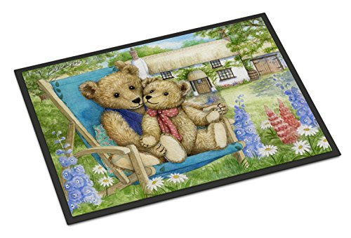 Caroline's Treasures Springtime Teddy Bears in Flowers Indoor or Outdoor Mat 18x27 CDCO0306MAT 18