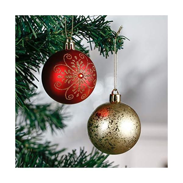 Valery Madelyn Palle di Natale 24 Pezzi 6cm Palline di Natale, Ornamenti di Palla di Natale Infrangibili di Lusso Rosso e Oro per la Decorazione Dell'Albero di Natale 4 spesavip
