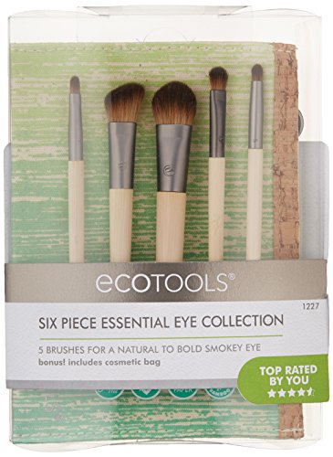 EcoTools 6 Piece Essential Eye Brush Set, Includes: Large Shadow, Angled Crease, Petite Eye Shading, Liner Smudge and Eye Liner Brushes, and Cosmetic Bag, Cruelty Free