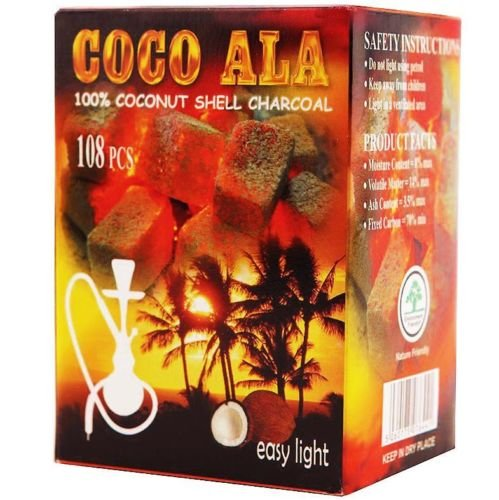 108 Pcs Coco Ala Charcoal 0 Natural Organic Coconut Hookah Shisha Coal...