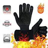 BBQ Gloves 800°C Heat Resistant Grill Gloves Fireproof Barbecue Grilling Potholders Silicone Non-Slip