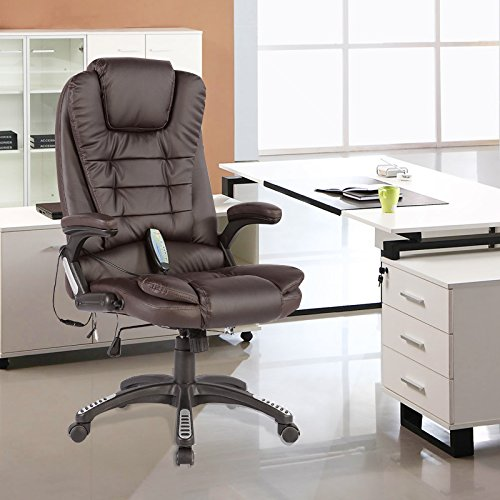 Murtisol Massage Gaming Chair Leather Office Chair Heated/ Executive/ Adjustable High/ Ergonomic Back BROWN
