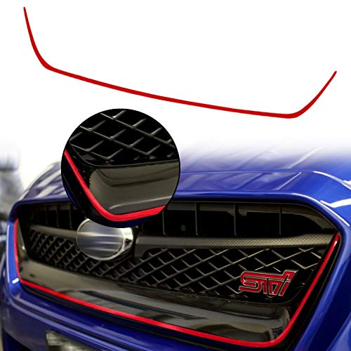 Xotic Tech Glossy Red Front Grille Pinstripe Vinyl Sticker, Pre-Cut Styling Front Hood Panel Edge Molding Trim Decal for Subaru WRX STI 2015-2017