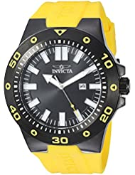 Invicta Mens Pro Diver Quartz Stainless Steel and Polyurethane Casual Watch, Color:Yellow (Model: 23513)