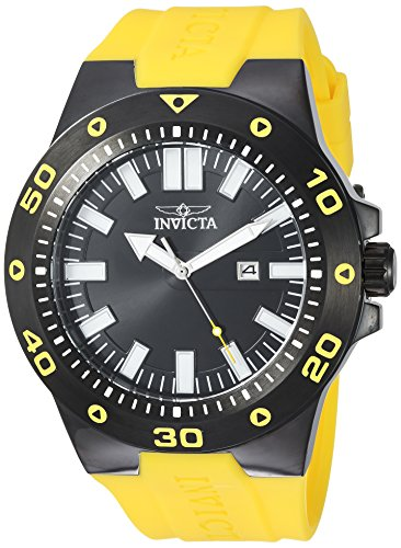 Invicta Men's 'Pro Diver' Quartz Stainless Steel and Polyurethane Casual Watch, Color:Yellow (Model: 23513) -
