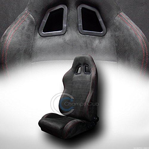 Autobotusa 1P Universal SP Black Suede RED Stitch CAR Racing Bucket SEAT+Slider JDM Vehicle ()