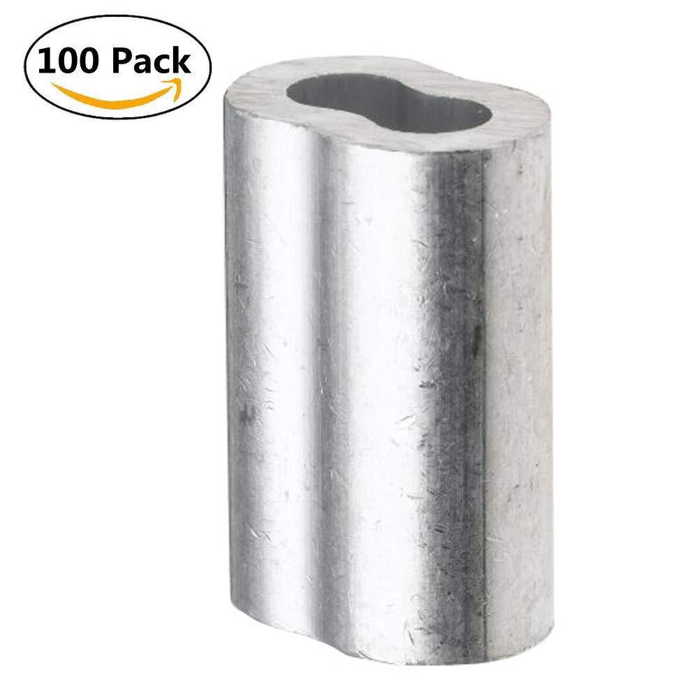 Alohha alluminio a doppia piegatura loop manica per fune cavo diametro 2mm (5/162,6cm), 100pezzi