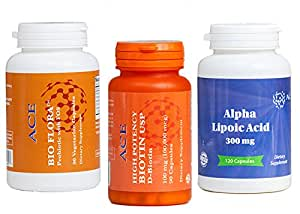 High-Potency Biotin, ALA (Alpha-Lipoic Acid), Bio Flora Probiotic - Combo Pack