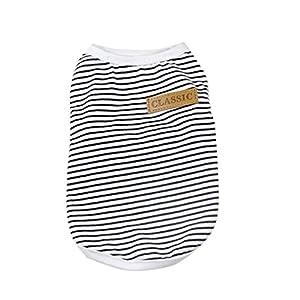 Pet Shirt, Howstar Dog Cat Clothes Puppy Classic Vest Striped T-shirt Pet Summer Apparel (Black, XL)