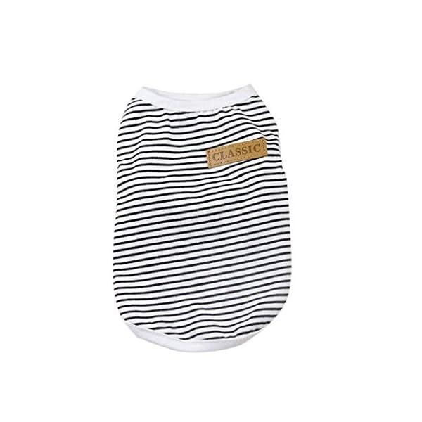 Howstar Pet Shirt, Dog Cat Clothes Puppy Classic Vest Striped T-Shirt Pet Summer Apparel (Black, S)