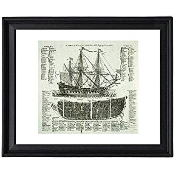 51AxtoOAmcL._SY355_ amazon com sailboat vintage 1728 war ship diagram picture frame