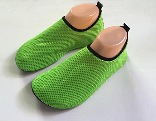 Ammazona Hombres Mujer Surf Beach Snorkeling Deporte Natación Malla Zapatos Para Caminar En La Superficie Verde
