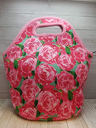 Pink Roses Floral Neoprene Lunch Tote. Reusable, Insulated, Soft Sided Lunch Bag. Washable.