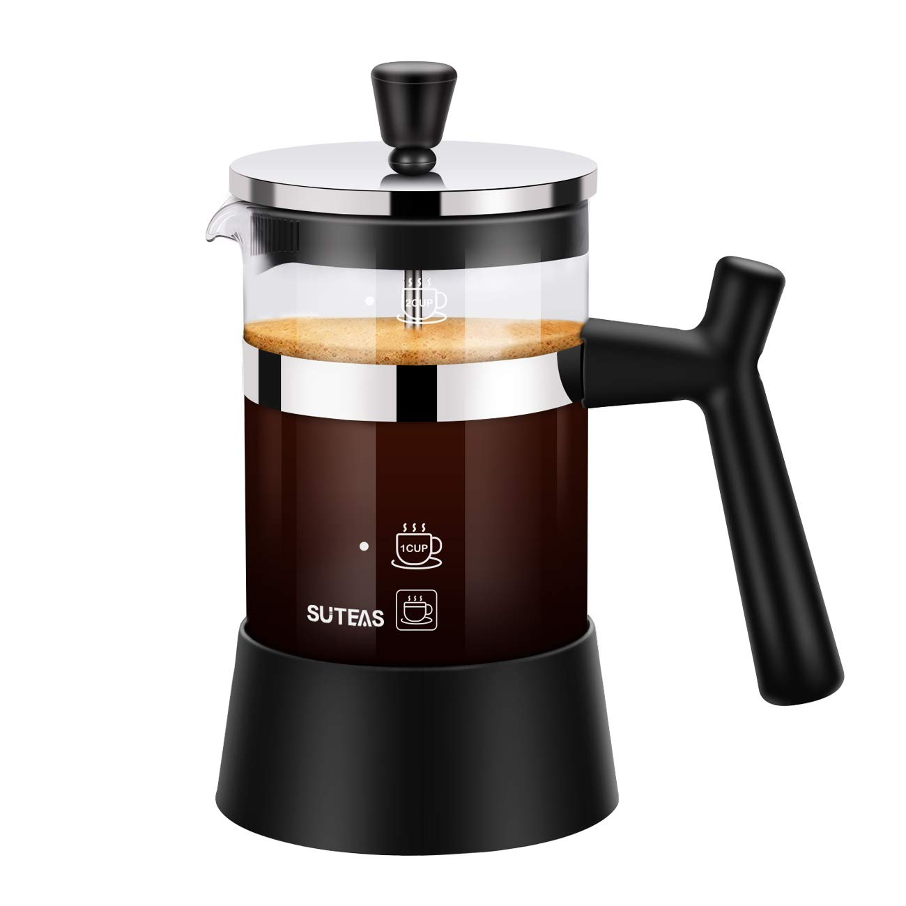 French Press Small Coffee Press 20oz 600ml, Coffee Press Glass Single Serve with Bobus Stainless Steel Filter Screen