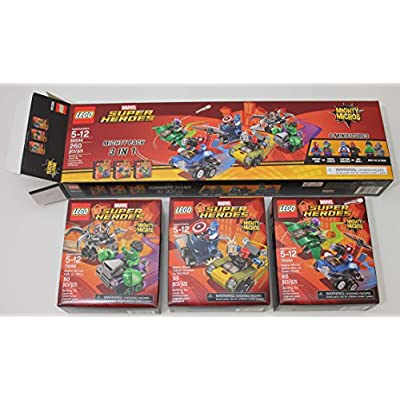 LEGO Marvel Super Heroes Mighty Micros 3 IN 1 Box Set - Spiderman vs Green Goblin, Captain America vs Red Skull, Hulk vs Ultron: Toys & Games