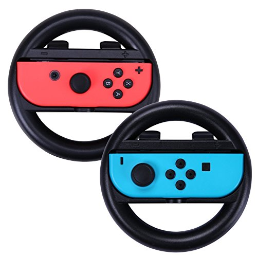 2pcs Joy-Con Grips for Nintendo Switch Controller, Hongfa Joy-con Steering Wheel -Black