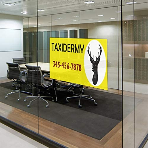 Custom Door Decals Vinyl Stickers Multiple Sizes Taxidermy Phone Number Cheetah Business Taxidermy Outdoor Luggage /& Bumper Stickers for Cars Black 52X34Inches Set of 5