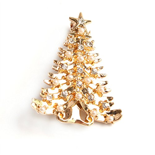 Weiss Costume Jewelry (VK Accessories Gold Brooch Crystal Rhinestone Brooch Pinith Tiny and Cute Pearlized Ball and Crystaly Inlaid Ornaments Gold-plated Brooch Pin Christams Gift Star Peal Brooch Pin(Golden))