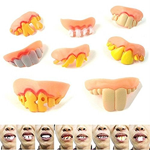 SUNONE11 Random 8pcs Zombie Witch Halloween Teeth Scary Trick Toy Fake (Scary Teeth For Halloween)