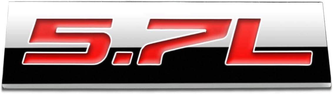 Black Letter Chrome Finish Metal Emblem 5.7L Badge