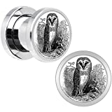 Stainless Steel Black and White Owl Screw Fit Plug Pair 0 Gauge
