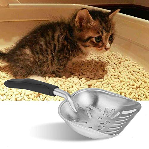 Amabest Non Stick Cat Litter Shovel, Large Aluminum Metal Cat Litter Scooper with Big Holes, Pet Cleaning Tool Spoon for…