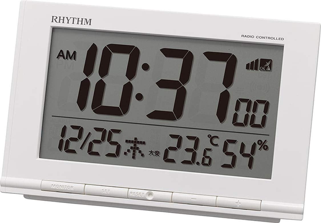 リズム時計工業(Rhythm) 目覚まし時計 電波時計 温度計・湿度計付き フィットウェーブD193 白 9.3×14.5×4.1cm 8RZ193SR03
