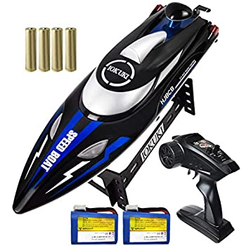 IOKUKI 2.4Ghz RC Boat- 20 mph Excessive Velocity Distant Management Boat for Children & Adults for Lakes & Swimming pools / 2 Rechargeable Batteries, Low Battery Alarm, Out of Vary Immediate, Capsize Restoration (Blue)