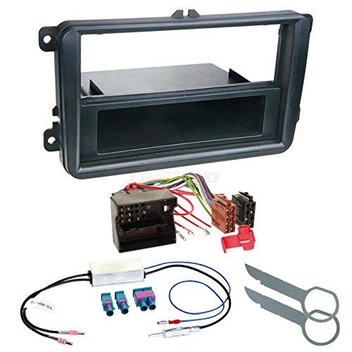 Zubeh/ör und Radioblende//Einbaurahmen schwarz Radioanschlusskabel VW Polo 6R 09-14 1-DIN Autoradio Einbauset in original Plug/&Play Qualit/ät mit Antennenadapter