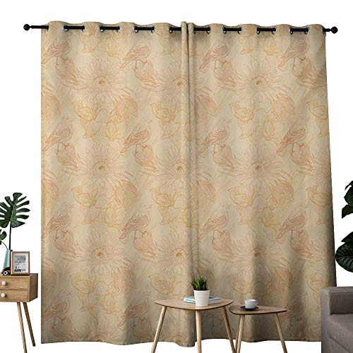 NUOMANAN Grommet Curtains Cream,Hand Drawn Floral Arrangement with a Bird Flora and Fauna Animals and Plants Soft,Pale Orange,Blackout Draperies for Bedroom Window 84
