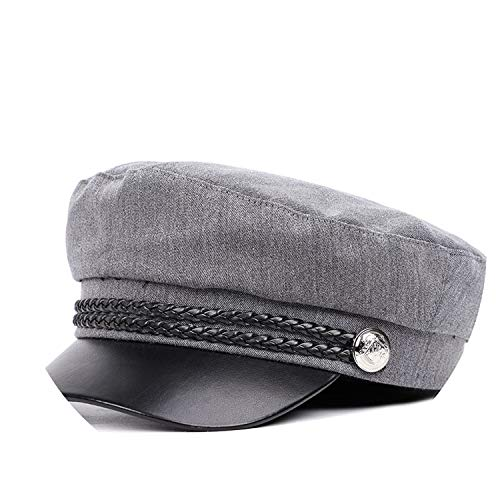 Chengzi-o hat Casual Military Cap Man Woman Cotton Beret Flat Hats Captain Cap,Gray