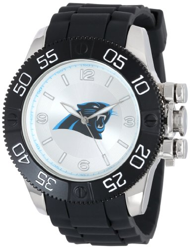 Game Time Men's 'Beast' Quartz Metal and Polyurethane Casual Watch, Color:Black (Model: NFL-BEA-CAR) (Panthers Watch Sports)