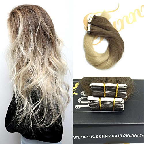 Sunny 20inch Two Tone Ombre Color Ash Brown to Bleach Blonde (#613)Straight Remy Dip Dye Tape In Human Hair Extensions 20pcs/50g (Bleach 123)