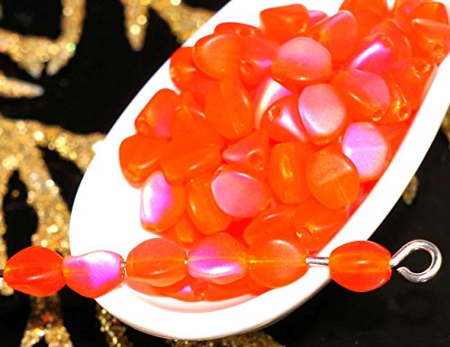 Matte Bicone - 50pcs Matte Orange AB Halloween Pinch Czech Glass Spacer Bicone Faceted Beads 5mm