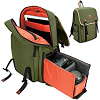 GOgroove Mid-volume Multifunction DSLR Camera Backpack (Dk Green) w/Interior Tablet Sleeve , Quick Slide Camera Compartment, Phone Storage and Dual Accessory Areas for Canon , Nikon , Olympus and More