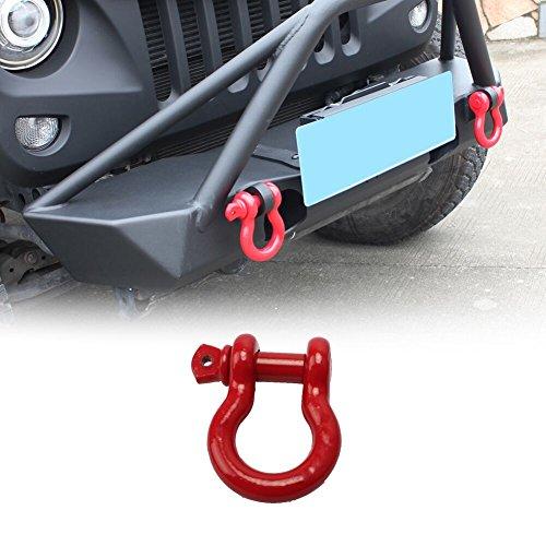 MAIKER 3/4'' Stainless Steel Heavy Duty D-Ring Shackle for Jeep Wrangler Unlimited JK JKU Rubicon Sahara Sport 2/4 Door 2007-2017, Red, Pack of 1