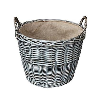 Set von 4 Antique Wash-Finish Wicker Gefüttert Log Baskets Red Hamper