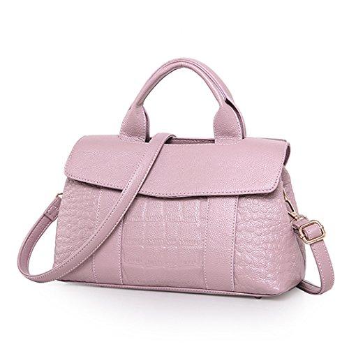 Pink Fashion Alligator (Fanspack Women's Top Handle PU Leather Satchel Handbags Alligator Pattern Crossbody Shoulder Bag Purse with Shoulder Strap)