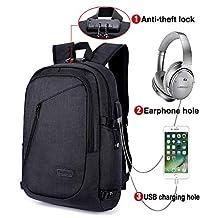 Mochila para portátil, mochila DOXUNGO antirrobo unisex con bloqueo Mochila portátil delgada con puerto de carga USB y puerto para audífonos para mujeres y hombres, para portátil y tableta Ipad de hasta 15.6 pulgadas (Negro)