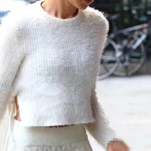 Up Elegante Cropped Sexy Bianco A Tops Plain Manica Lace Maglioni Maglione Maglia Pullover Girocollo Donna Lvrao Mohair Lunga qtEnFvt
