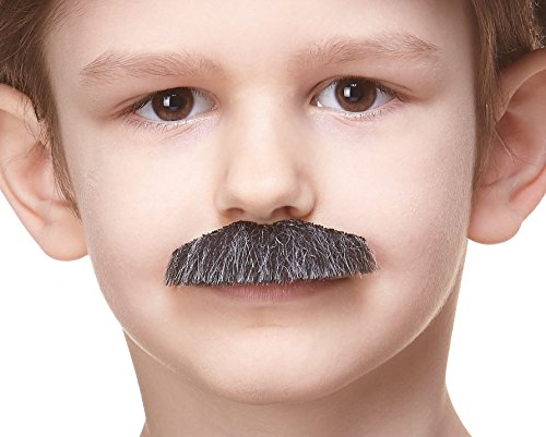 Mustaches Fake Mustache, Self Adhesive, Novelty, Small Policeman False Facial Hair, Costume Accessory for Kids, Salt and Pepper -