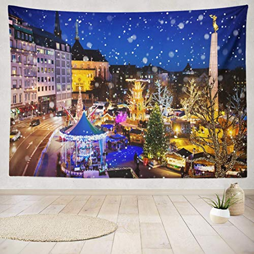 YGUII Tapestry Wall Art Christmas Traditional Xmas Market Old European City City Winter Holidays and Wall Hanging Tapestry for College Adults Kids' Room Decor Wall Blanket 60