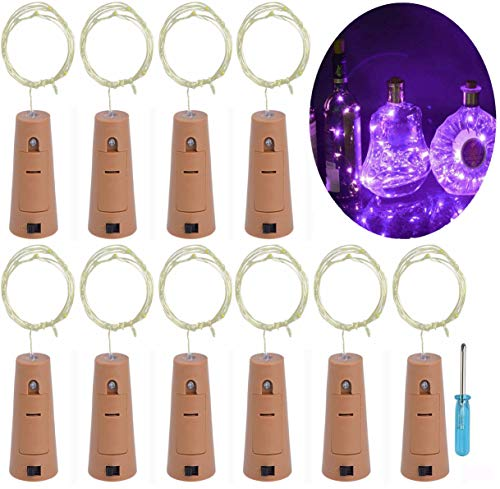 LRCXL Set of 10 Wine Bottle Cork Lights - 18inch/ 47cm 10 LED Silver Wire Lights String Starry LED Lights for Bottle DIY, Halloween Party, Christmas, Wedding Decoration (Purple)