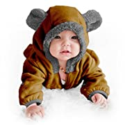Funzies Baby Bunting Fleece Hooded Romper Bodysuit (BearBrown3-6m)