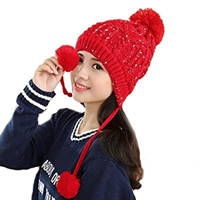 Usstore Women's Lady hat Trendy Winter Keep Warm Braided knitted Pelote Slouch Cap