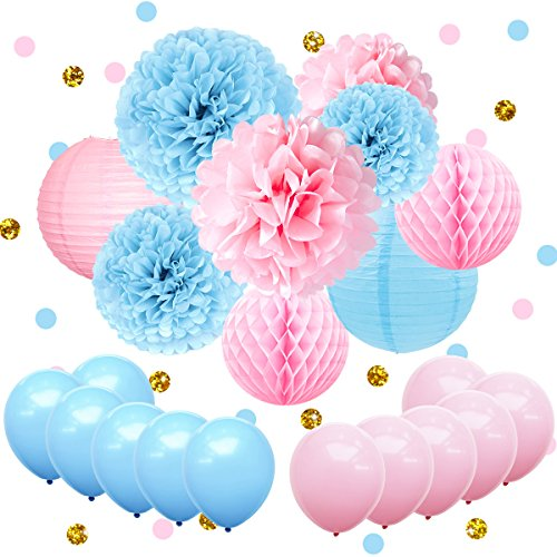 12' Deluxe Paper Lantern - NICROLANDEE Gender Reveal Party Supplies 22 Pcs Pink and Blue Party Balloons Glitter Confetti Hanging Tissue Pom Pom Paper Lantern for Boy or Girl Baby Shower Decorations