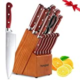 Knife Set,15-Piece Kitchen Knife Block Set,German X50Cr15 Stainless Steel Chef's Knife Set with Wooden Block and Sharpener,Homgeek