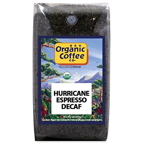 The Organic Coffee Co., Decaf Hurrican Espresso- Whole Bean, 2-Pound (32 oz.), Swiss Water Process- Decaffeinated, USDA (Decaffeinated Coffee Swiss Water Process)