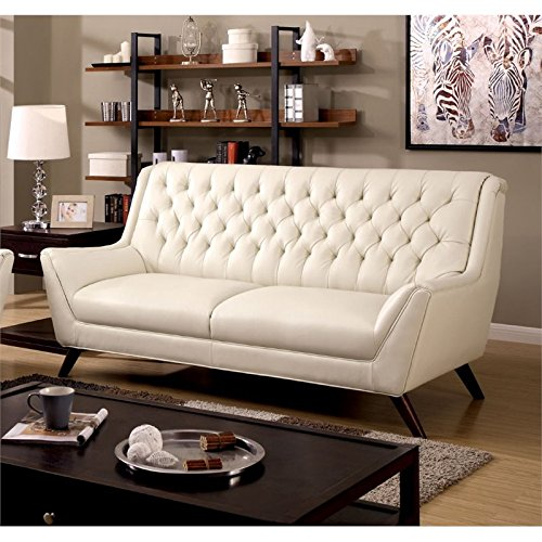 Furniture of America Mayfield Tufted Leather Sofa in White